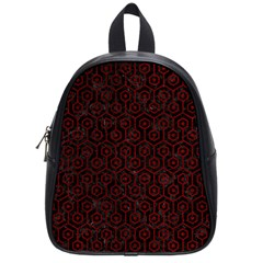 Hexagon1 Black Marble & Red Grunge (r) School Bag (small) by trendistuff