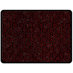 Hexagon1 Black Marble & Red Grunge (r) Double Sided Fleece Blanket (large)  by trendistuff