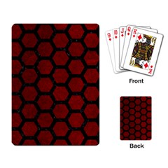 Hexagon2 Black Marble & Red Grunge Playing Card by trendistuff