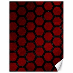Hexagon2 Black Marble & Red Grunge Canvas 18  X 24   by trendistuff