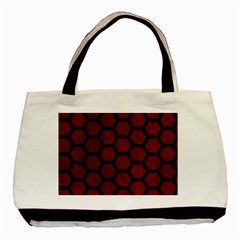 Hexagon2 Black Marble & Red Grunge Basic Tote Bag (two Sides) by trendistuff