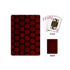 Hexagon2 Black Marble & Red Grunge Playing Cards (mini)  by trendistuff
