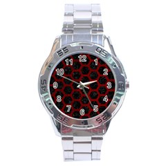 Hexagon2 Black Marble & Red Grunge (r) Stainless Steel Analogue Watch by trendistuff