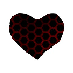 Hexagon2 Black Marble & Red Grunge (r) Standard 16  Premium Heart Shape Cushions by trendistuff
