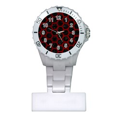 Hexagon2 Black Marble & Red Grunge (r) Plastic Nurses Watch by trendistuff