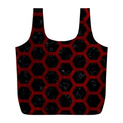 Hexagon2 Black Marble & Red Grunge (r) Full Print Recycle Bags (l)  by trendistuff