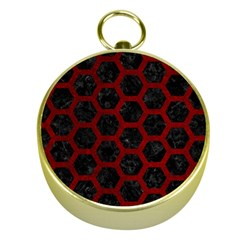 Hexagon2 Black Marble & Red Grunge (r) Gold Compasses by trendistuff