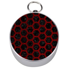 Hexagon2 Black Marble & Red Grunge (r) Silver Compasses by trendistuff