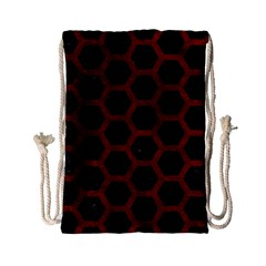 Hexagon2 Black Marble & Red Grunge (r) Drawstring Bag (small) by trendistuff