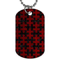 Puzzle1 Black Marble & Red Grunge Dog Tag (two Sides)