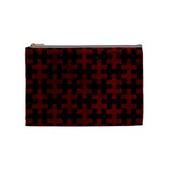 Puzzle1 Black Marble & Red Grunge Cosmetic Bag (medium)  by trendistuff