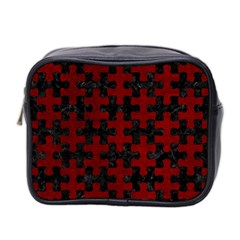 Puzzle1 Black Marble & Red Grunge Mini Toiletries Bag 2 Side by trendistuff