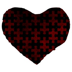 Puzzle1 Black Marble & Red Grunge Large 19  Premium Heart Shape Cushions by trendistuff