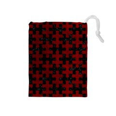 Puzzle1 Black Marble & Red Grunge Drawstring Pouches (medium)  by trendistuff