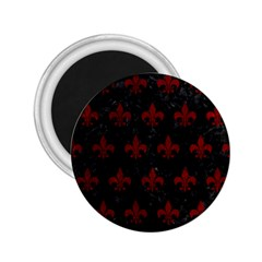 Royal1 Black Marble & Red Grunge 2 25  Magnets by trendistuff
