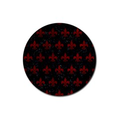 Royal1 Black Marble & Red Grunge Rubber Coaster (round)  by trendistuff
