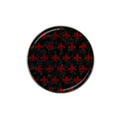 Royal1 Black Marble & Red Grunge Hat Clip Ball Marker by trendistuff