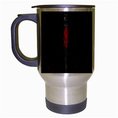 Royal1 Black Marble & Red Grunge Travel Mug (silver Gray) by trendistuff