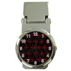 Royal1 Black Marble & Red Grunge Money Clip Watches by trendistuff