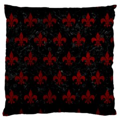 Royal1 Black Marble & Red Grunge Large Flano Cushion Case (one Side) by trendistuff