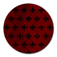 Royal1 Black Marble & Red Grunge (r) Round Mousepads by trendistuff