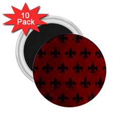 Royal1 Black Marble & Red Grunge (r) 2 25  Magnets (10 Pack)  by trendistuff