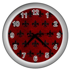 Royal1 Black Marble & Red Grunge (r) Wall Clocks (silver)  by trendistuff
