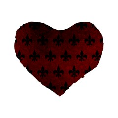 Royal1 Black Marble & Red Grunge (r) Standard 16  Premium Heart Shape Cushions by trendistuff