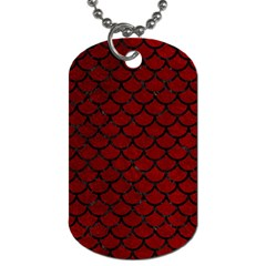 Scales1 Black Marble & Red Grunge Dog Tag (one Side) by trendistuff
