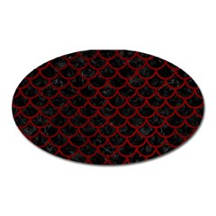 Scales1 Black Marble & Red Grunge (r) Oval Magnet by trendistuff