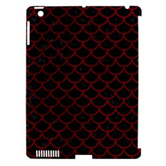 Scales1 Black Marble & Red Grunge (r) Apple Ipad 3/4 Hardshell Case (compatible With Smart Cover) by trendistuff