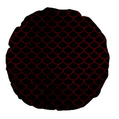 Scales1 Black Marble & Red Grunge (r) Large 18  Premium Flano Round Cushions by trendistuff