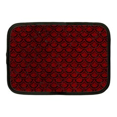 Scales2 Black Marble & Red Grunge Netbook Case (medium)  by trendistuff