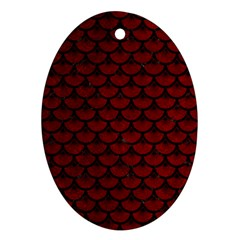 Scales3 Black Marble & Red Grunge Ornament (oval) by trendistuff