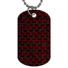 Scales3 Black Marble & Red Grunge (r) Dog Tag (two Sides) by trendistuff