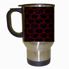 Scales3 Black Marble & Red Grunge (r) Travel Mugs (white) by trendistuff
