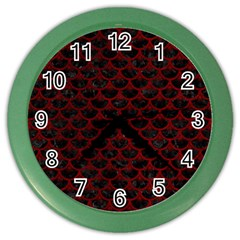 Scales3 Black Marble & Red Grunge (r) Color Wall Clocks by trendistuff