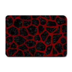 Skin1 Black Marble & Red Grunge Small Doormat  by trendistuff
