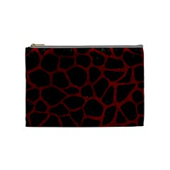 Skin1 Black Marble & Red Grunge Cosmetic Bag (medium)  by trendistuff