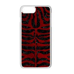 Skin2 Black Marble & Red Grunge (r) Apple Iphone 7 Plus White Seamless Case by trendistuff