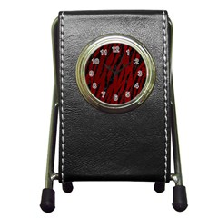 Skin3 Black Marble & Red Grunge Pen Holder Desk Clocks by trendistuff