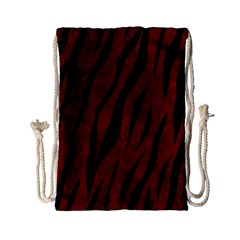 Skin3 Black Marble & Red Grunge Drawstring Bag (small)