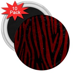 Skin4 Black Marble & Red Grunge 3  Magnets (10 Pack)