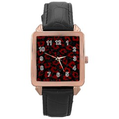 Skin5 Black Marble & Red Grunge Rose Gold Leather Watch  by trendistuff