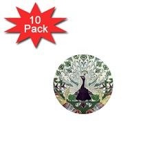 Art Nouveau Peacock 1  Mini Magnet (10 Pack)  by 8fugoso