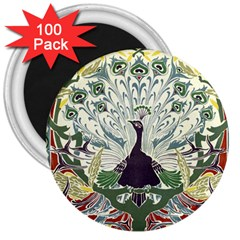 Art Nouveau Peacock 3  Magnets (100 Pack) by 8fugoso