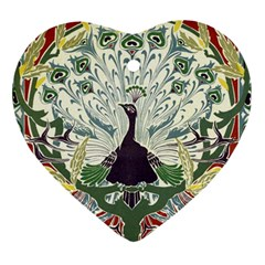 Art Nouveau Peacock Heart Ornament (two Sides) by 8fugoso