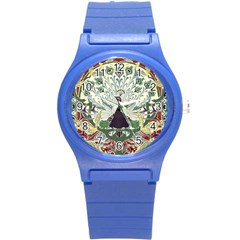 Art Nouveau Peacock Round Plastic Sport Watch (s) by 8fugoso