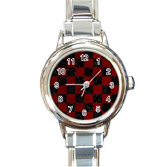 Square1 Black Marble & Red Grunge Round Italian Charm Watch by trendistuff