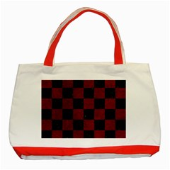 Square1 Black Marble & Red Grunge Classic Tote Bag (red) by trendistuff